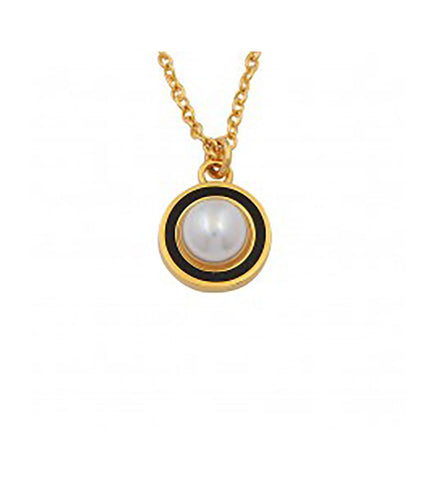 Cabochon Pearl Charm Pendant Necklace | Black and Gold | Halcyon Days | Made in England