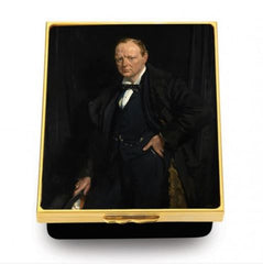 Enamel Box | Winston Churchill by Sir William Newenham Montague Orpen | Enamel Box | Sir Winston Churchill | Halcyon Days | Made in England-Prestige Box-Sterling-and-Burke