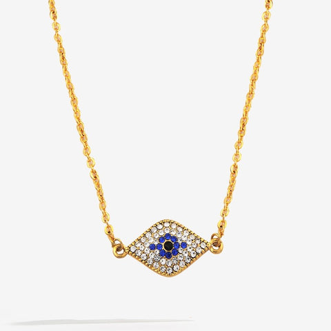 Enamel Pendant | Pave Evil Eye Pendant Necklace | Halcyon Days | Made in England