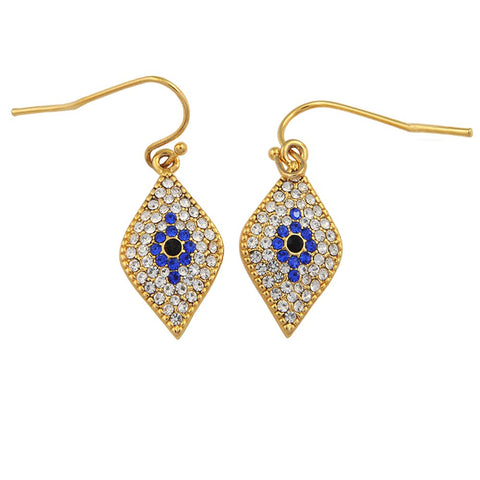 Enamel Earrings | Pave Evil Eye Earnings | Halcyon Days | Made in England