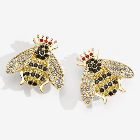 Enamel Earrings | Sparkle Queen Bee Earnings | Halcyon Days | Made in England