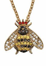 Halcyon Days Sparkle Queen Bee Pendant Necklace
