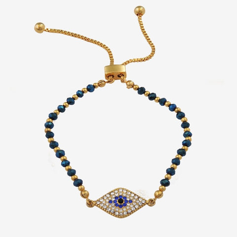 Halcyon Days Pave Evil Eye Beaded Friendship Bangle