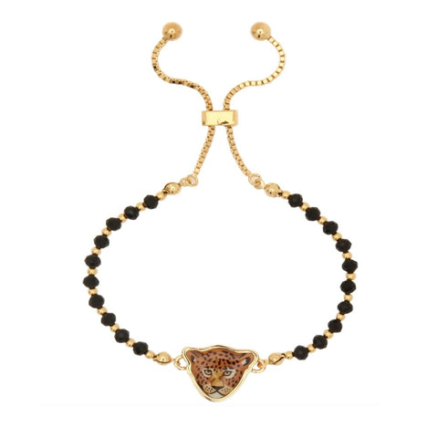 Halcyon Days Leopard Beaded Friendship Bangle in Black and Gold | Sterling & Burke