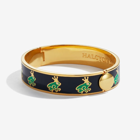 Enamel Bangle | 13mm Frog Prince Sparkle Hinged Bangle | Navy, Green, and Gold | Halcyon Days | Made in England