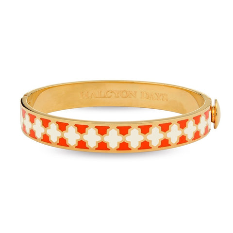 Enamel Bangle | 1cm Agama Hinged Orange, Cream, and Gold Bangle | Halcyon Days | Made in England-Bangle-Sterling-and-Burke