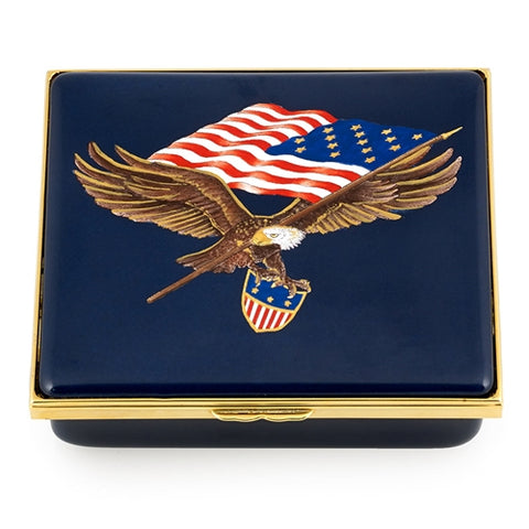 Star Spangled Banner Collection | Custom Enamel Box | USA Flag Enamel Box | Star Spangled Banner | American Flag Box | Halcyon Days-Enamel Box-Sterling-and-Burke