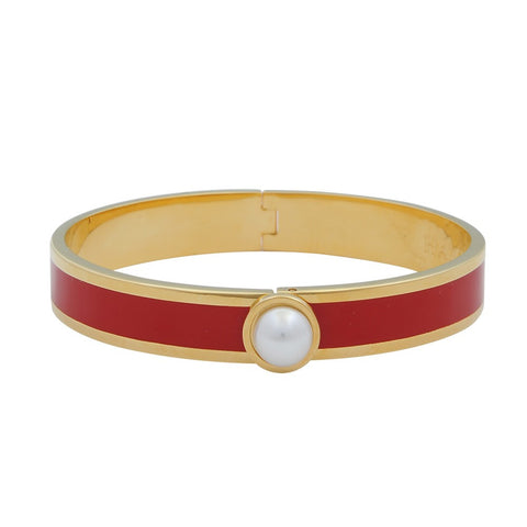 Enamel Bangle | Cabochon Pearl Bangle | Red and Gold | Halcyon Days | Made in England