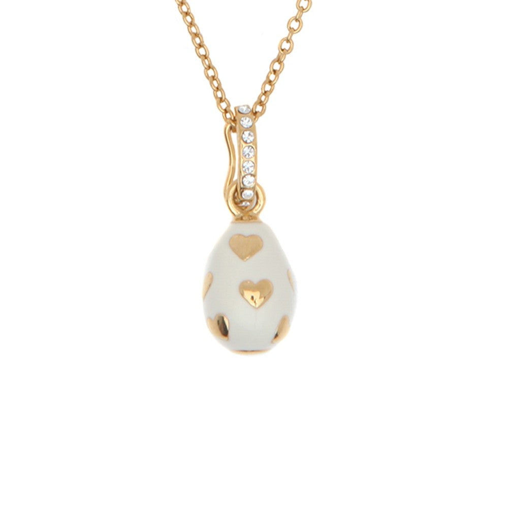 Halcyon Days Enamel Egg Pendant Necklace with Hearts in Cream and Gold-Jewelry-Sterling-and-Burke