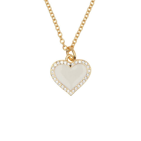 Halcyon Days Heart Sparkle Pendant Necklace in Cream and Gold