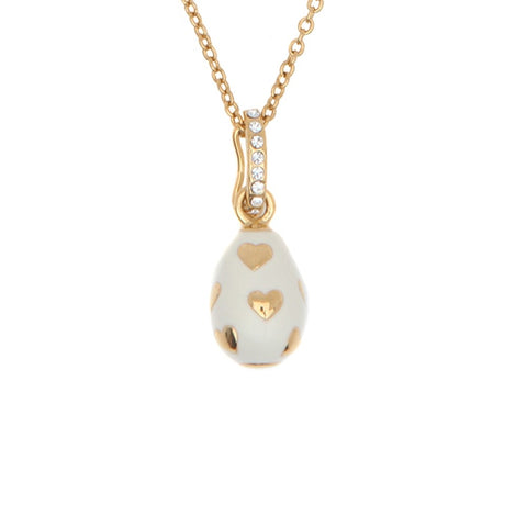 Halcyon Days Enamel Egg Pendant Necklace with Hearts in Cream and Gold