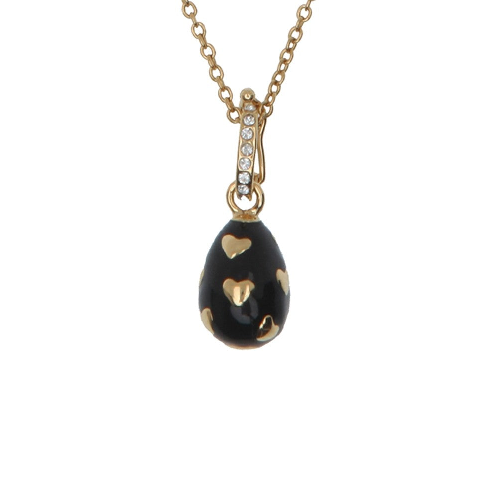 Enamel Pendant | Heart Enamel Egg Charm Pendant Necklace | Black and Gold | Halcyon Days | Made in England-Necklace-Sterling-and-Burke