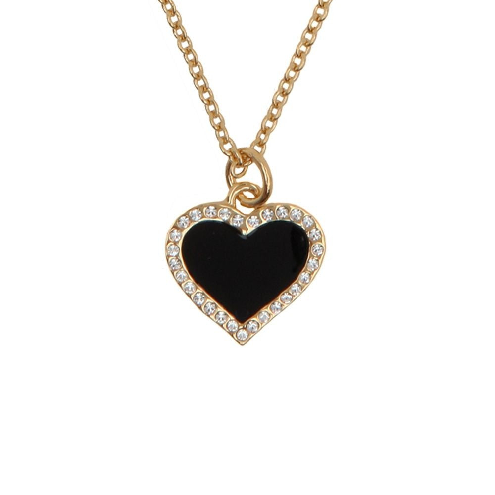 Enamel Pendant | Heart Sparkle Pendant Necklace | Black and Gold | Halcyon Days | Made in England-Necklace-Sterling-and-Burke