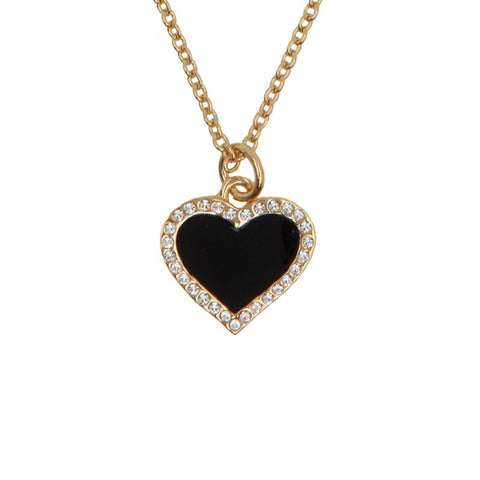 Halcyon Days Heart Sparkle Pendant Necklace in Black & Gold