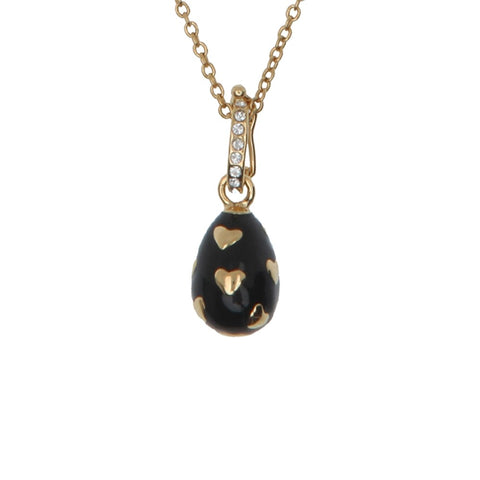 Halcyon Days Enamel Egg Pendant Necklace with Hearts in Black and Gold
