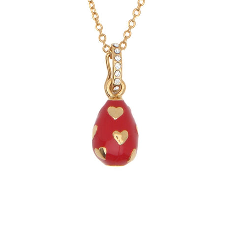 Halcyon Days Enamel Egg Pendant Necklace with Hearts in Red and Gold