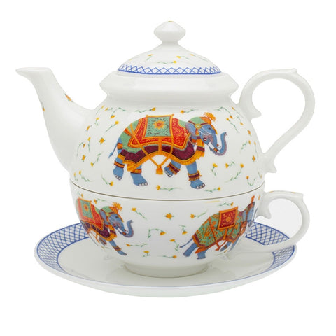 Halcyon Days Ceremonial Indian Elephant Tea for One in White-Bone China-Sterling-and-Burke