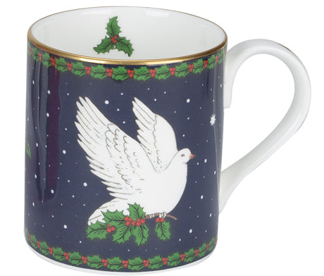 Halcyon Days Dove of Peace Mug in Blue-Bone China-Sterling-and-Burke
