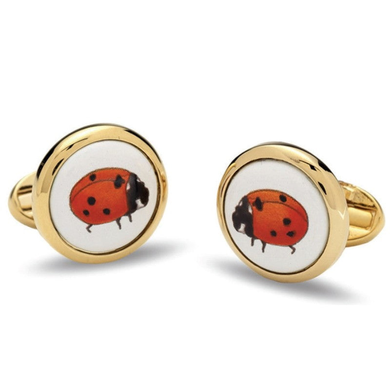 Halcyon Days Lady Bird Round Cufflinks in Gold-Enamel Cufflinks-Sterling-and-Burke