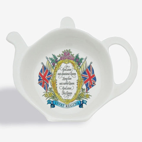 Halcyon Days Vivat Regina Tea Bag Tidy in Ivory-Bone China-Sterling-and-Burke