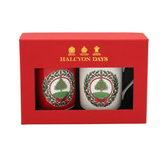 Halcyon Days Vintage Christmas Tree Mugs, Set of 2-Bone China-Sterling-and-Burke