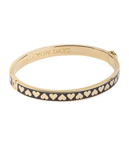Halcyon Days 6mm Skinny Heart Hinged Enamel Bangle in Black and Gold