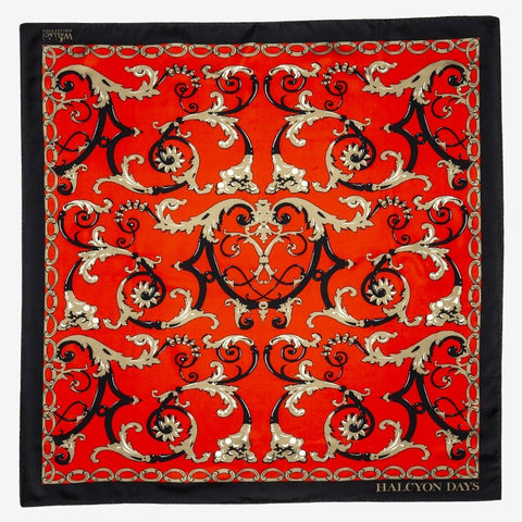 Halcyon Days Wallace Balustrade Silk Scarf in Deep Red, 36 by 36 Inches