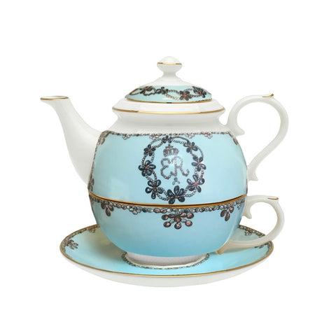 English Fine Bone China | Tea for One | Shells | Blue | Halcyon Days | Made in England