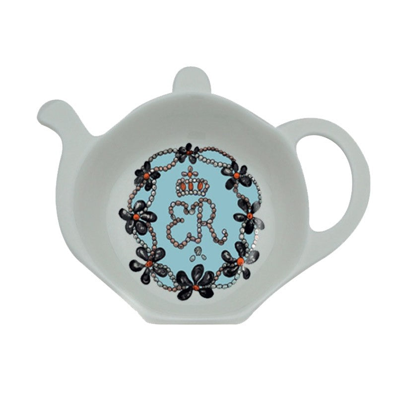 Halcyon Days Shells Tea Bag Tidy in Blue-Bone China-Sterling-and-Burke