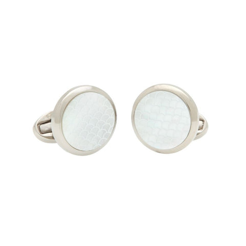 Halcyon Days Salamander Mother of Pearl Cufflinks in Cream and Palladium