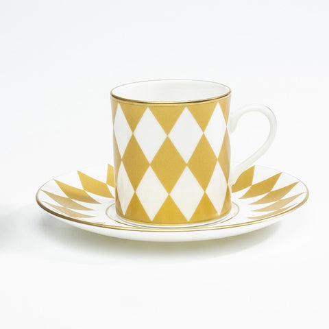 Halcyon Days Parterre Coffee Cup and Saucer in Gold-Bone China-Sterling-and-Burke