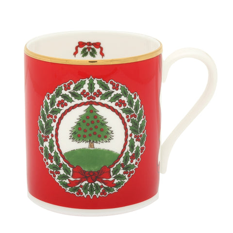 Halcyon Days Vintage Christmas Tree Mugs, Set of 2