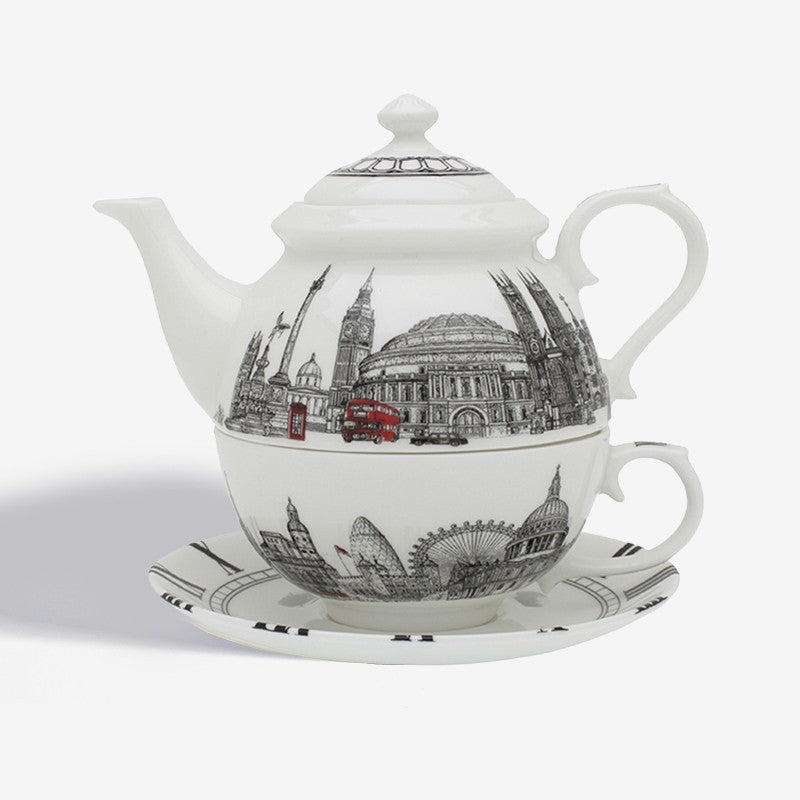 Halcyon Days The London Icons Tea for One-Bone China-Sterling-and-Burke