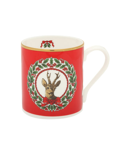 Halcyon Days Vintage Christmas Tree Stag Mugs, Set of 2