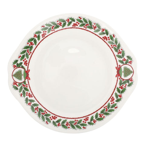 "Halcyon Days Vintage Christmas Tree 10"" Serving Platter in White"