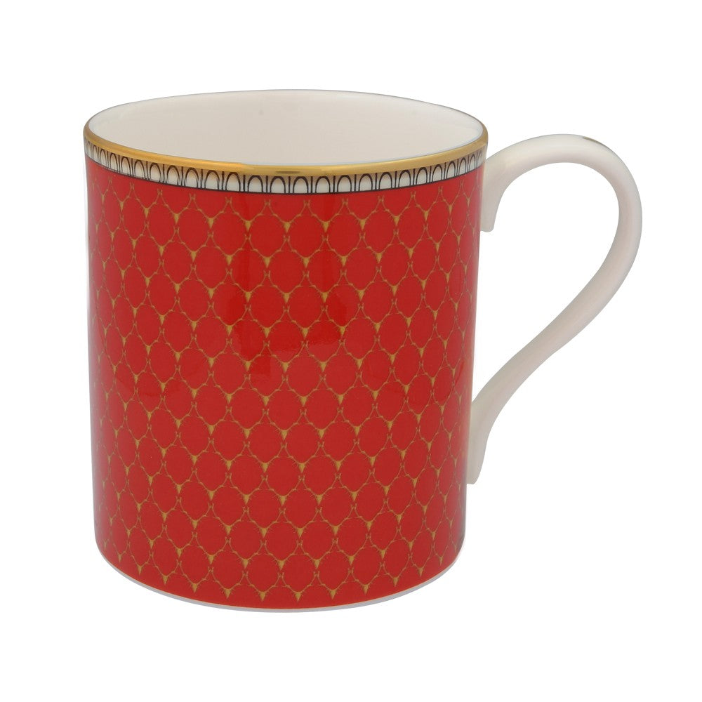 Fine English Bone China | Mug | Antler Trellis | Red | Halcyon Days | Made in England-Mug-Sterling-and-Burke