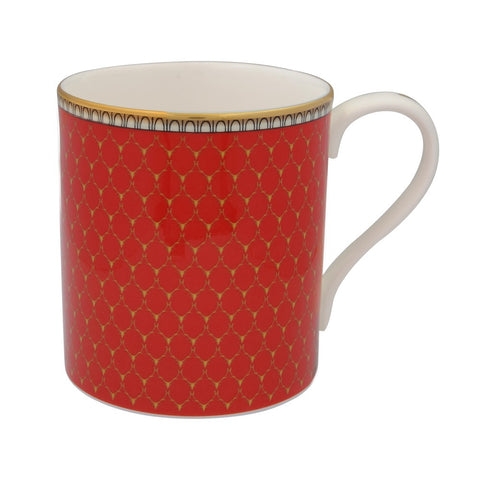 Fine English Bone China | Antler Trellis Mug | Red | Halcyon Days | Made in England