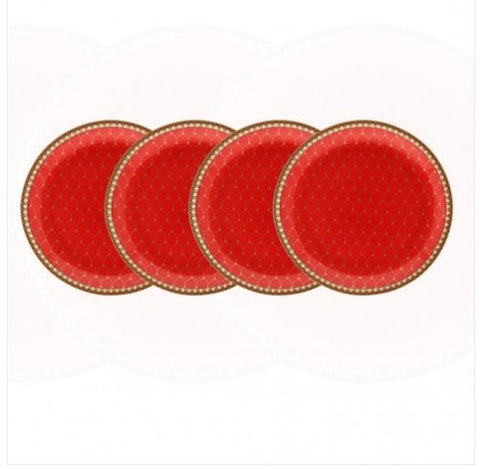 Halcyon Days Antler Trellis Coasters in Red, Set of 4-Bone China-Sterling-and-Burke