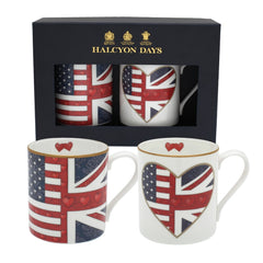 Halcyon Days Very Special Relationship Mugs, Set of 2-Bone China-Sterling-and-Burke