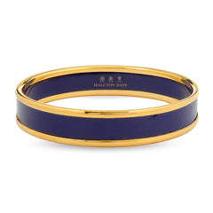 Halcyon Days 1cm Push Bangle in Deep Navy and Gold | Sterling & Burke-Bangle-Sterling-and-Burke
