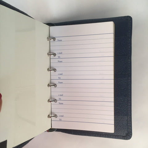 3 Ring Binder Address Book | Calf Leather | 6 by 3 Inches | Scarlet, Black, Brown, and Navy | Made in England | Charing Cross-Address Book-Sterling-and-Burke
