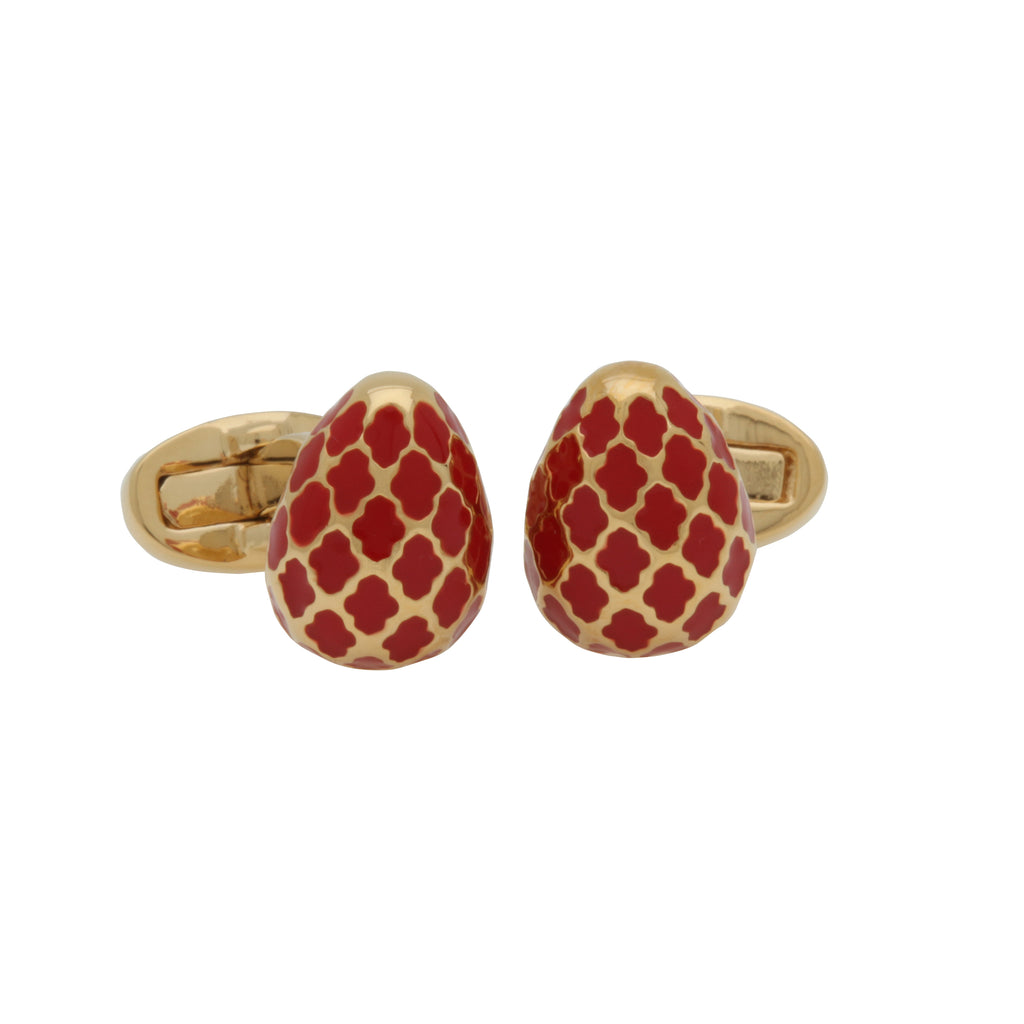 Halcyon Days Agama Egg Cufflinks in Red and Gold-Enamel Cufflinks-Sterling-and-Burke