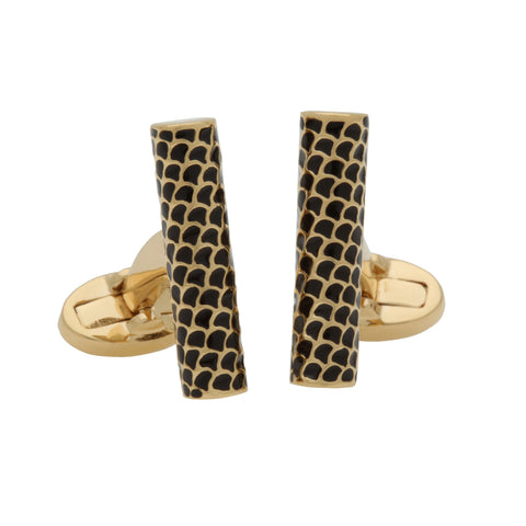 Halcyon Days Salamander Single Tube Cufflinks in Black and Gold