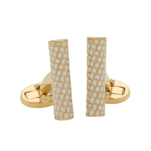 Salamander Single Tube Cufflinks | Cream and Gold | Halcyon Days