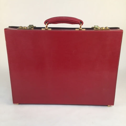 3.5 Inch Lid Over Body Attache Case | Hand Stitched | Red English Bridle Leather | Sterling and Burke