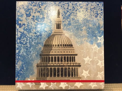 Capitol DC 2016 | Original Mixed Media on Wood by Fabiano Amin | 12 by 12 Inches-Mixed Media-Sterling-and-Burke