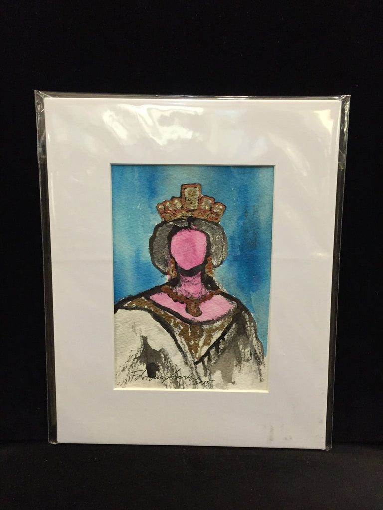 "Art | Monday Queen | Mixed Media on Paper by Fabiano Amin | 7"" x 5""-Acrylic Painting-Sterling-and-Burke"
