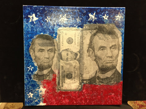 "Art | Lincoln 16 | Original Mixed Media by Fabiano Amin | 12"" x 12""-Mixed Media-Sterling-and-Burke"
