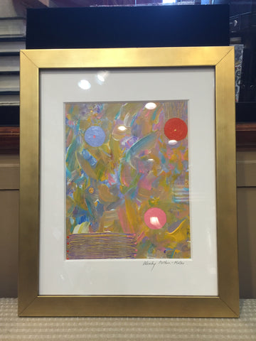 Abstract Art | A Joyful Moment | Framed in Gold | 13 by 16 Inches | Wendy Plotkin-Mates