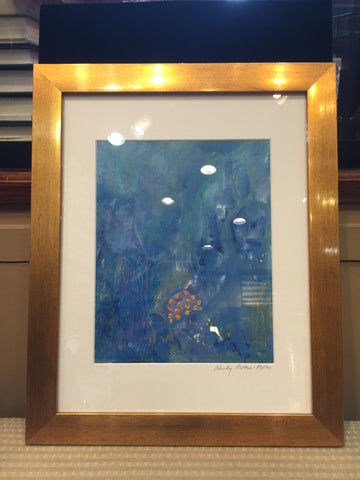 Abstract Art | Blue Mood | Framed in Gold | 13 by 16 Inches | Wendy Plotkin-Mates
